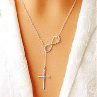 Ladies Fashion Elegant Silver Plated Cross Infinity Pendant Chain Party Necklace (Size: 51 cm, Color: Silver) (With Thanksgiving&Christmas Gift Box)= 1946154948