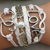 Infinity love ring pearl wings and Double heart Hand-knit Leather Strap Bracelet = 1651269444