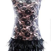 Vintage Feathers and Lace Mini Dress - Sizes Up to 2XL