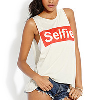 FOREVER 21 Selfie Muscle Tee Taupe/Red