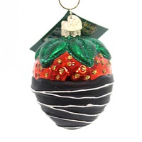 Old World Christmas CHOCOLATE DIPPED STRAWBERRY Glass Ornament Fruit 28116