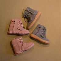 Soft Kids girls yeezy young boy boots Rubber big kid shoes pink high top genuine Leath