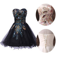 Sexy PEACOCK Short Vintage Bridesmaid Evening Cocktail Party Dress Gown PROM GK