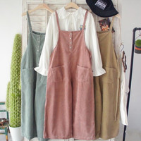 Corduroy overalls lovely relaxed casual retro wide leg pants Ankle-length pants  mori girl 2016 spring