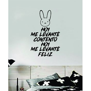 Bad Bunny Hoy Me Levante Feliz YHLQMDLG Wall Decal Home Decor Sticker Vinyl Bedroom Room Quote Spanish Music Reggaeton Girls Funny Teen Lyrics