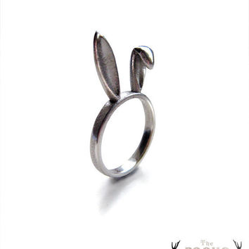 Sterling Silver Bunny Ears Ring bunny ring animal by HidenSeek