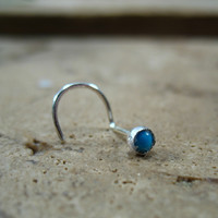 Nose Stud Screw Hook Turquoise Sterling Silver
