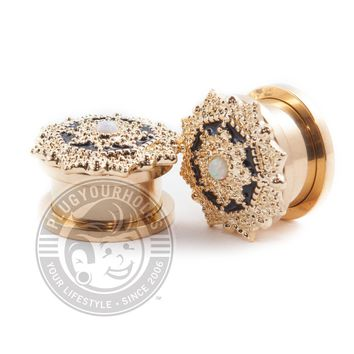 Ancient Shield with Opal Center 14kt Gold Plated Threaded Steel Plugs