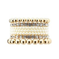 Gold Rhinestone & Pearl Stretch Bracelets - 7 Pack by Charlotte Russe
