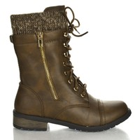 Mango31 Brown Pu By Forever, Round Toe Military Lace Up Knitted Ankle Cuff Low Heel Combat Boots