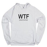 where's the food-Unisex White Hoodie