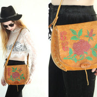 Vintage 70s LEATHER Tooled Handpainted Floral Flap Crossbody Bag Purse // Brown Cognac Tan // Hippie Bohemian Gypsy