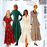 McCall's 8489 Sewing Pattern Maxi Coat Dress Button Front Bodice Pleated Back Skirt Princess Seams Plus Size Full Figure Uncut Bust 40 to 42