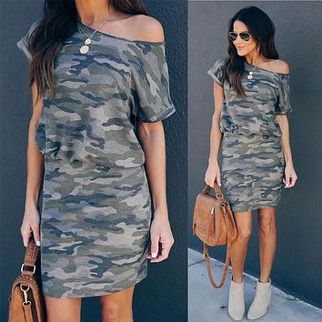 2020 new women's casual slant collar waist camouflage dress