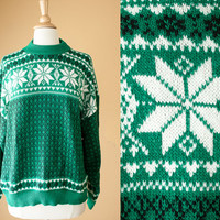 Vintage Snowflake Sweater   Tacky Xmas Ugly Christmas Sweater Preppy Novelty Holiday Jumper Winter Fair Isle 80s Sweater Slouchy Cosby Boxy