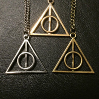 Deathly Hallows Necklace- Harry Potter Necklace Geeky Necklace Fan Necklace Fandom Jewelry Fangirl Gift Jewellery Charm Unisex
