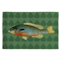 Natt Green and Yellow Fish Woven Rug