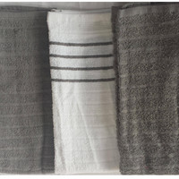 "Naturally Home 100% Cotton Kitchen Towel 3 Pack (15"" x 25"" Each) - Grey/White"
