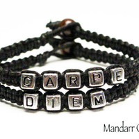 Carpe Diem, Inspirational Bracelet, Seize the Day, Black Hemp Jewelry, Gifts for Her, Quote of the Day