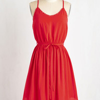 ModCloth Americana Long Sleeveless A-line Right to Delight Dress in Ruby