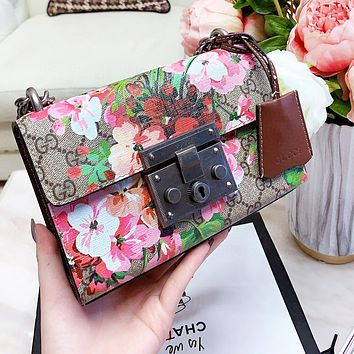 GUCCI Hot Sale Women Shopping Bag Leather Flower Print Shoulder Bag Crossbody Satchel