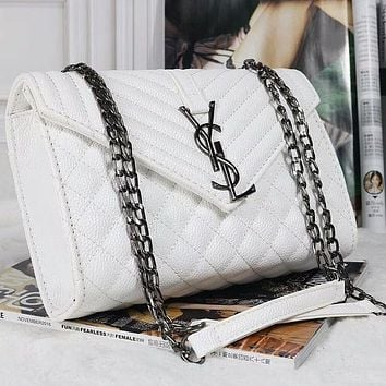 YSL Yves Saint Laurent Women Leather Zipper Shopping Shoulder Bag Handbag Crossbody