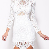 White Lace Long Sleeve Scalloped Bodycon Dress
