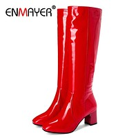 Square Toe High Over-the-Knee Zip Rainboots Solid PU Thigh High BootsRain Boots Women Knee High  boots