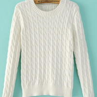 White Knitted Soft Cropped Sweater