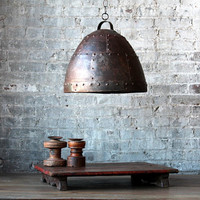 SALE Small Industrial Rustic Rusted Hanging Riveted Reclaimed Iron Light Fixture