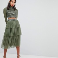 Lace & Beads Embellished Skirt In Layered Tulle at asos.com