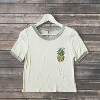 Pineapple Ringer Tee (White)