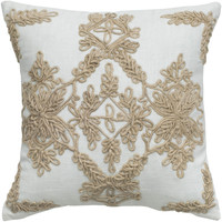 """Applique Jute Embroidery and Cording Ivory Pillow Cover (18"""" x 18"""")"""