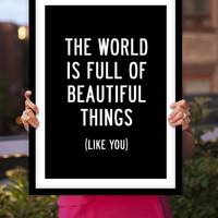 "Typography Art ""Beautiful Things Like You"" Wall Art Inspirational Quote Black and White Print Typographic Print"
