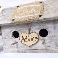 Advice Cards Birdhouse  Reclaimed Wood And Burlap  Make This Advice For Bride And Groom Box Perfect For A Rustic, Barn, Or Country Wedding
