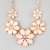 Full Tilt Facet Flower Statement Necklace Peach One Size For Women 22842570601