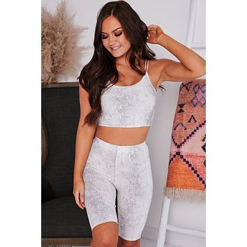 Making The Rules Snake Print Two Piece Set (Ivory/Grey)