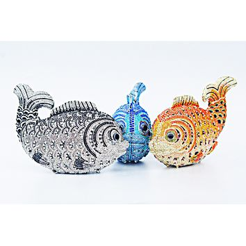 Women's Bling Koi Fish Purse Luxury Rhinestone Crystal Evening Clutch Bags