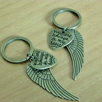 2 You Are Always In My Heart with Angel wings Keychains Best Friends, Couples, Boyfriend Girlfriend Gift, Christmas