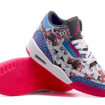 free shipping nike air jordan iii 3 retro flowers basketball sneaker-1