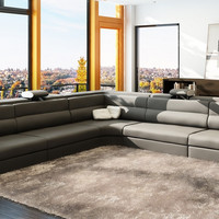 Divani Casa 5022C Modern Grey and White Bonded Leather Sectional Sofa