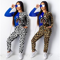 Bape Aape Fashion Women Casual Casual Print Top Pants Trousers Set Two-Piece