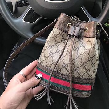 Gucci fashion double G print casual large capacity bucket bag one shoulder cross-body bag lady
