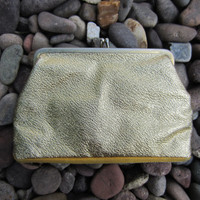 60s Small Golden Shimmering Clutch // Vintage Evening Bag // Gold Two Compartment Coin Purse