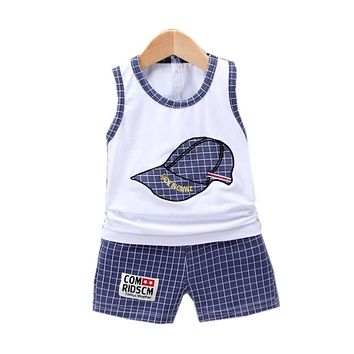 New Children Cotton Clothing Cute Baby Boy Girl Embroidered Hat Vest Shorts