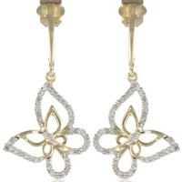 10k Yellow Gold Diamond Butterfly Earrings (1/10 cttw, I-J Color, I2-I3 Clarity)