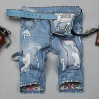 Summer Pants Ripped Holes Korean Jeans [6541764227]