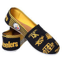 Pittsburgh Steelers Official NFL Womens Smu Canvas Slip-on Shoes