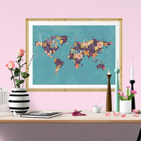 Floral World Map Watercolor Print, Flower, instant download, Watercolor poster, digital poster, affiche, world map, Fower Design, home Decor