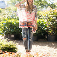 Loose Print Fringed Blouse 9732
